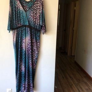 Nicole Miller Animal Print Maxi Dress women's XL